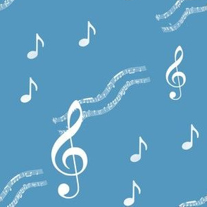Music Notes Blue and white