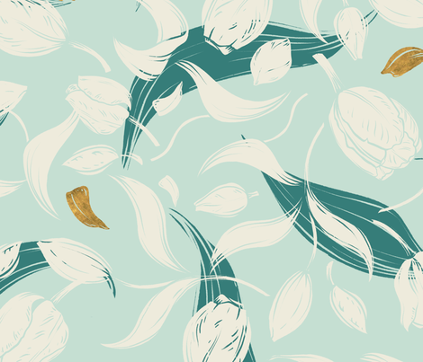 modern tulip foliage with gold petals fabric by marion-kamper on Spoonflower - custom fabric
