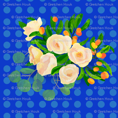 floral kumquats on blue