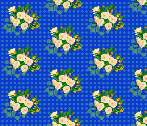 floral kumquats on blue fabric by ghouk on Spoonflower - custom fabric