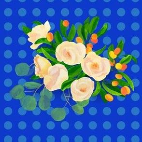 floral kumquats on blue