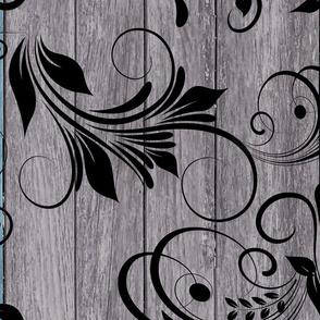 weathered wood and flourishes