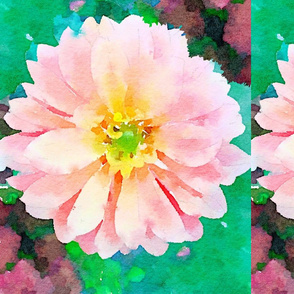 Pink Flower on Watercolor Back Drop Mint green and Hot Pink
