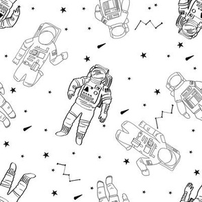 astronauts fabric outer space quilt coordinates white