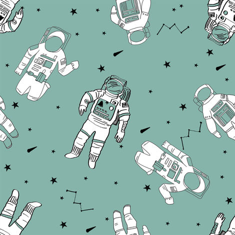 Astronauts fabric outer space quilt coordinates opal for Outer space quilt fabric