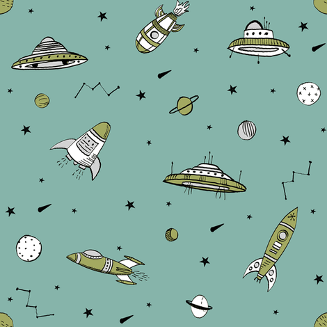 spaceships ufo fabric outer space quilt coordinates opal fabric by andrea_lauren on Spoonflower - custom fabric