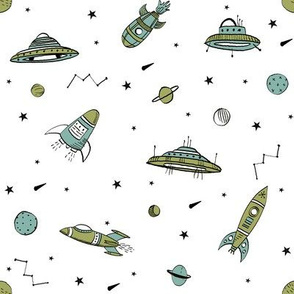 spaceships ufo fabric outer space quilt coordinates colors