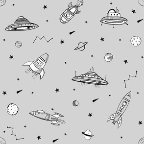 spaceships ufo fabric outer space quilt coordinates light grey