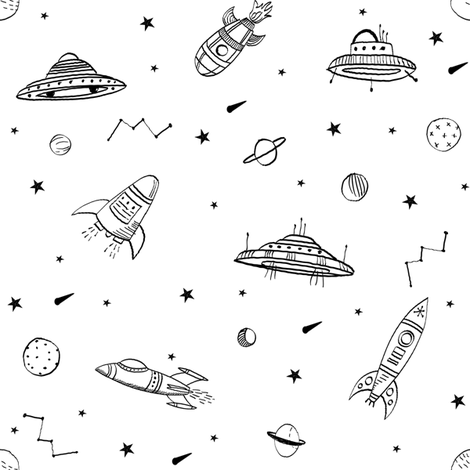 spaceships ufo fabric outer space quilt coordinates  fabric by andrea_lauren on Spoonflower - custom fabric