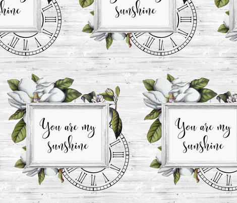 magnolias, sunshine and shiplap fabric by grafixmom on Spoonflower - custom fabric