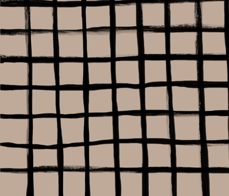 Strokes Grid - Black on Nude fabric by form_creative on Spoonflower - custom fabric