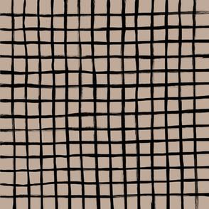 Strokes Grid - Black on Nude