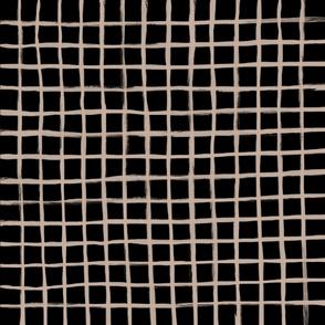 Strokes Grid - Nude on Black
