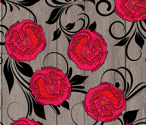 Poppies on Weathered Wood  fabric by fanciful_whimsy on Spoonflower - custom fabric