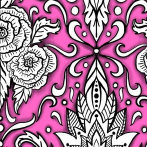 Pink and black floral damask