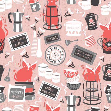 Modern farmhouse coffee station // pink background & red cats fabric by selmacardoso on Spoonflower - custom fabric