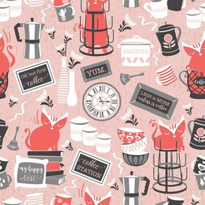 Modern farmhouse coffee station // pink background & red cats