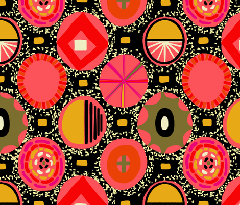 Geo Medallions in pink fabric by lolabitty on Spoonflower - custom fabric