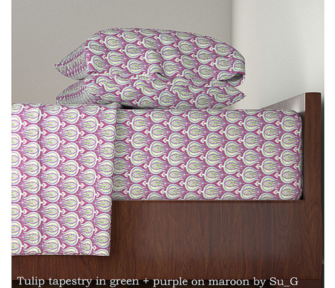 Tulip tapestry in green + purple on maroon by Su_G_©SuSchaefer