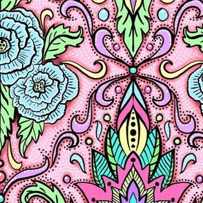 pastel floral damask