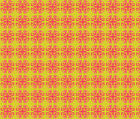 Full Grecian Key in Chartreuse and Pink fabric by twigsandblossoms on Spoonflower - custom fabric