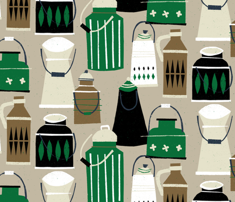 MCM Milk Pails M+M Latte by Friztin fabric by friztin on Spoonflower - custom fabric