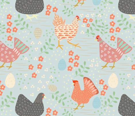 Backyard Chickens fabric by tomatodumplings on Spoonflower - custom fabric
