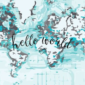 "hello world black 7"" quilt square"