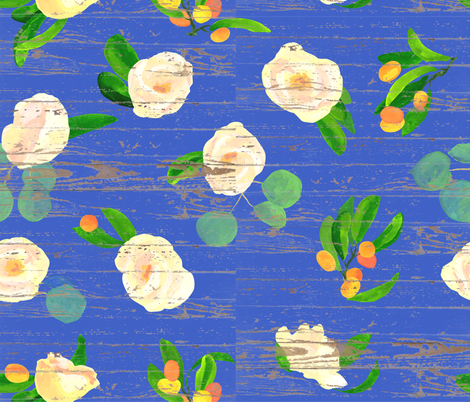 kumquats floral on wood fabric by ghouk on Spoonflower - custom fabric
