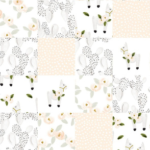 floral llamas patchwork wholecloth