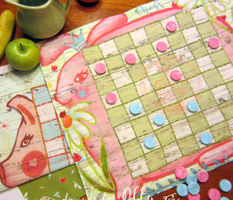 piggy checker board placemats