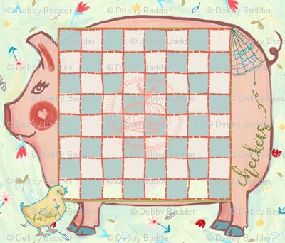 piggy checker board placemats