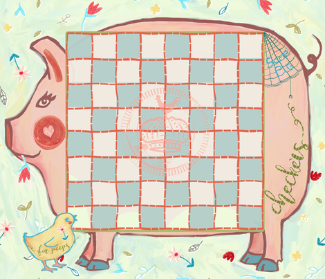 piggy checker board placemats fabric by designed_by_debby on Spoonflower - custom fabric