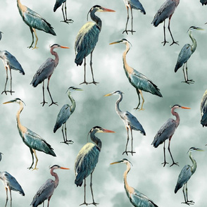 Blue Herons on Gray  Green Watercolor Sky