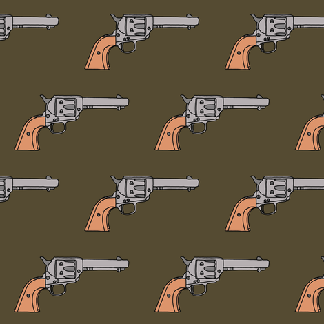 Revolvers on Dark Olive // Small fabric by thinlinetextiles on Spoonflower - custom fabric