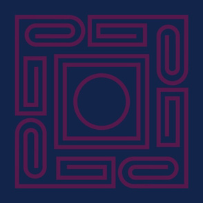 Deco Greek Key - fuchsia on navy