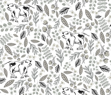 Modern Farmhouse Cow in the Foliage fabric by roguerens on Spoonflower - custom fabric