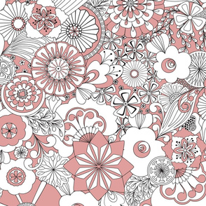 70s Flowers - Pink and White