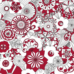 70s Flowers - Red and White