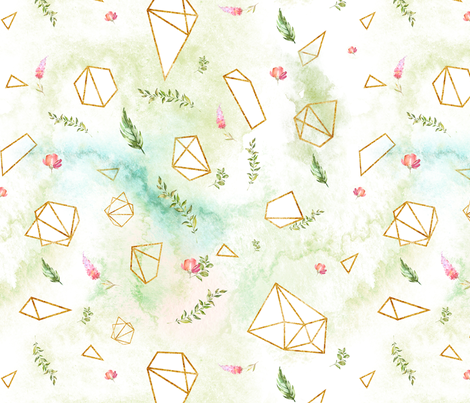 Watercolour Geometric Crystals fabric by petitrenardshop on Spoonflower - custom fabric