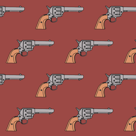 Revolvers on Rust // Small fabric by thinlinetextiles on Spoonflower - custom fabric