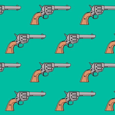 Revolvers on Turquoise // Small fabric by thinlinetextiles on Spoonflower - custom fabric