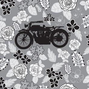 Vintage Motorcycle on Grey Floral // Large