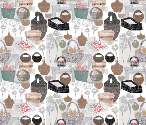 Basket architecture fabric by abstracthands on Spoonflower - custom fabric