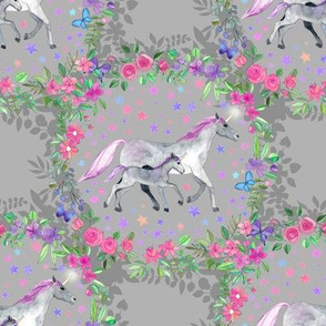 Mama and Baby Unicorn in a Flower Circle on Grey