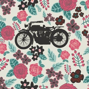 Vintage Motorcycle on Ming Green & Cranberry Floral // Large