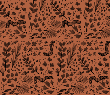Garden caterpillars (Rust) fabric by anda on Spoonflower - custom fabric