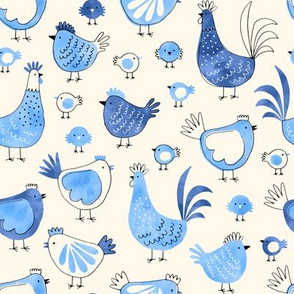 Chicken and rooster in watercolor blue on creme