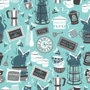 Modern farmhouse coffee station // aqua background teal cats
