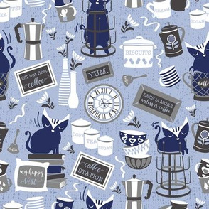 Modern farmhouse coffee station // lavender background blue cats